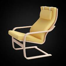 Leather Poang Chair 3d Ikea Poang Chair High Quality 3d Models