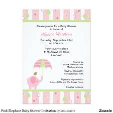 pink elephant baby shower invitation elephant themed baby shower