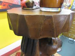 funky stuff hand carved timber wooden bear side table stool