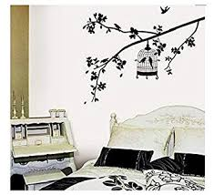 Home Decoration Wall Stickers Amazon Com Birdcage Hanging On Tree Branch Wall Decal Removable