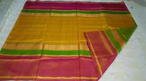 wonderful uppada silk checked yellow color saree direct sale from