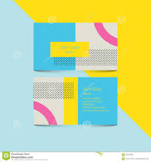 material design business card template with 80s style background