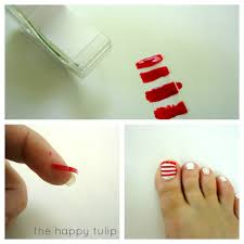 flag nail art with diy polish strips the happy tulip