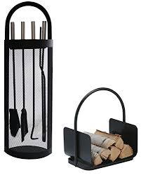 accessori per camini a legna alpertec cestino set accessori per camino in ferro e legno 2