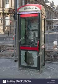 glass door broken vandalised telephone box or kiosk with broken glass door newcastle