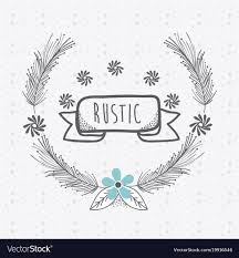 rustic ribbon rustic ribbon banner with flowers vector image