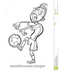 funny zombie soccer player coloring page stock vector image