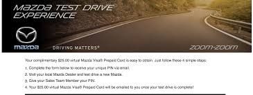 mazda deals 2016 expired 25 visa gift card for test driving a mazda doctor of