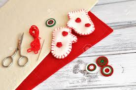 christmas craft supplies and handmade ornaments stock photo