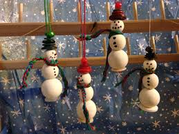 snowmen ornaments made out of wooden buttons embroidery