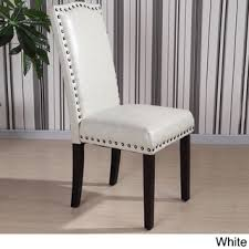 White Leather Dining Room Chairs Castillian Collection Faux Leather Nailhead Trim Parson Chair Set