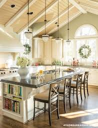 bright country kitchen with large island and cathedral ceiling