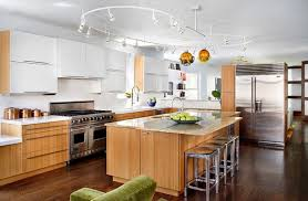 cool track lighting installation above the kitchen island gorgeous track lighting ideas for the contemporary home