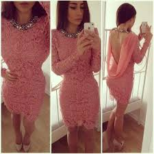 cheap 2016 coral lace cocktail dresses high neck long sleeve cowl