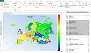 colored map of europe with excel data