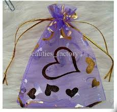 organza favor bags 7cm x 9 cm purple organza gift bags with gold heart printed