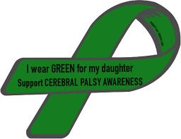 cerebral palsy ribbon custom ribbon i wear green for my support cerebral palsy