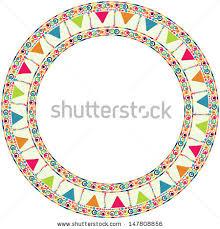 Border Designs For Birthday Cards Round Frame Border Garland Happy Birthday Stock Vector 147808856