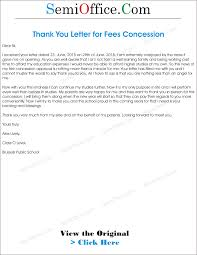 thanks letter for fee concession png