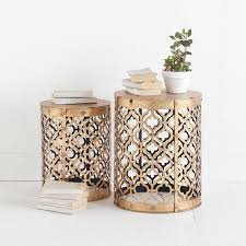 side table set of 2 mercana rudebekia gold metal nesting side tables set of 2 free