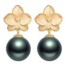 Yellow Orchid Tahitian Pearl And Diamond Orchid Earrings In Yellow Gold