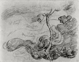 sketch of a tree against clouds with colour annotations 1890