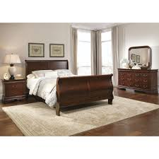 traditional 4pc brown bedroom set modern sleigh bed 2 drawer