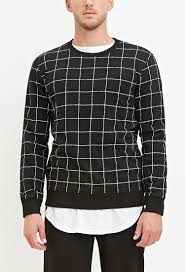 forever 21 grid print sweatshirt in black for men lyst