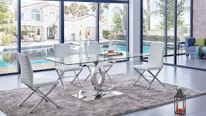 Clear Dining Room Table 151 Dining Table W Clear Glass Top U0026 Optional Chairs By Esf