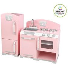 cuisine kidcraft amazon com kidkraft retro kitchen and refrigerator in pink toys