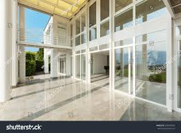 Modern House Exterior by Architecture Wide Veranda Modern House Exterior Stock Photo