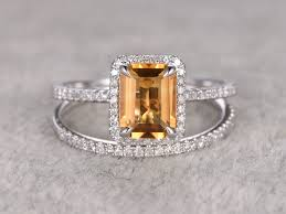 wedding ring white gold emerald cut citrine bridal ring set diamond wedding band white