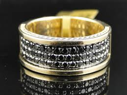 mens gold rings mens yellow gold cut black diamond pave designer band ring