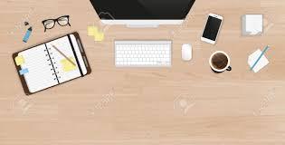 table de travail bureau réaliste organisation du travail de bureau vue de dessus avec table