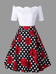 vintage dresses shoulder polka dot roses print vintage dress in 2xl sammydress
