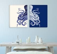 Bathroom Decor  Octopus Prints NAVY Blue Cream Nautical - Blue bathroom 2