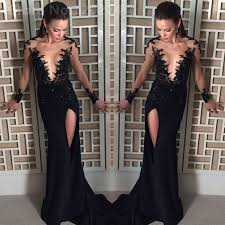 All Black Prom Dress 2017 Black Prom Dresses Long Sleeve Sheer Tulle Evening Gowns