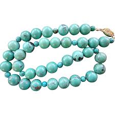 vintage beads necklace images Superb 1960 39 s vintage turquoise 12mm bead necklace 74 7 grams sold jpg