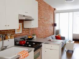 kitchen exposed brick wall white shelves interior designs aprar