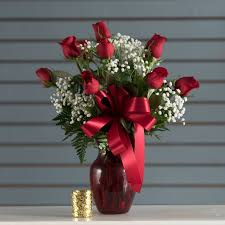 Red Flowers In A Vase Sunnyvale Florist Flower Delivery By El Patito Florist