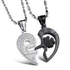 couple heart pendant necklace images Silver and black split joint heart pendant necklaces for couples jpg
