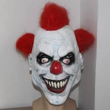 Evil Clown Halloween Costume Wholesale Merry Scary Clown Mask Wide Smile Red Hair Evil