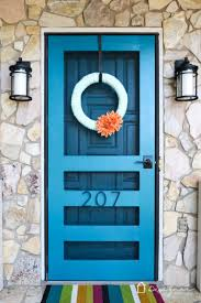 Teal Front Door by An Easy But Dramatic Front Door Update Designer Trapped In A