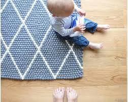 Blue White Striped Rug Rectangle Felted Balls Carpets With Patterns In Large And Small Sizes