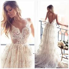 lace backless beach wedding dresses spaghetti straps wedding dress