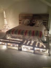 Pallet Bed Frame Plans Pallet Bed With Lights 1000 Ideas About Pallet Bed Frames On