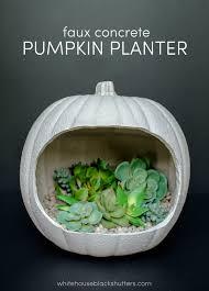 faux concrete pumpkin planter white house black shutters