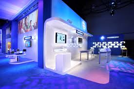 gleaming futuristic room with blue led lights also spartling