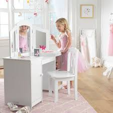 Dressing Vanity Table Furniture White Wooden Vanity Set With Three Mirror And