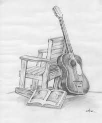 drawn still life musical instrument pencil and in color drawn